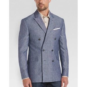 💕JOE joseph abboud blue linen slim fit sport coat